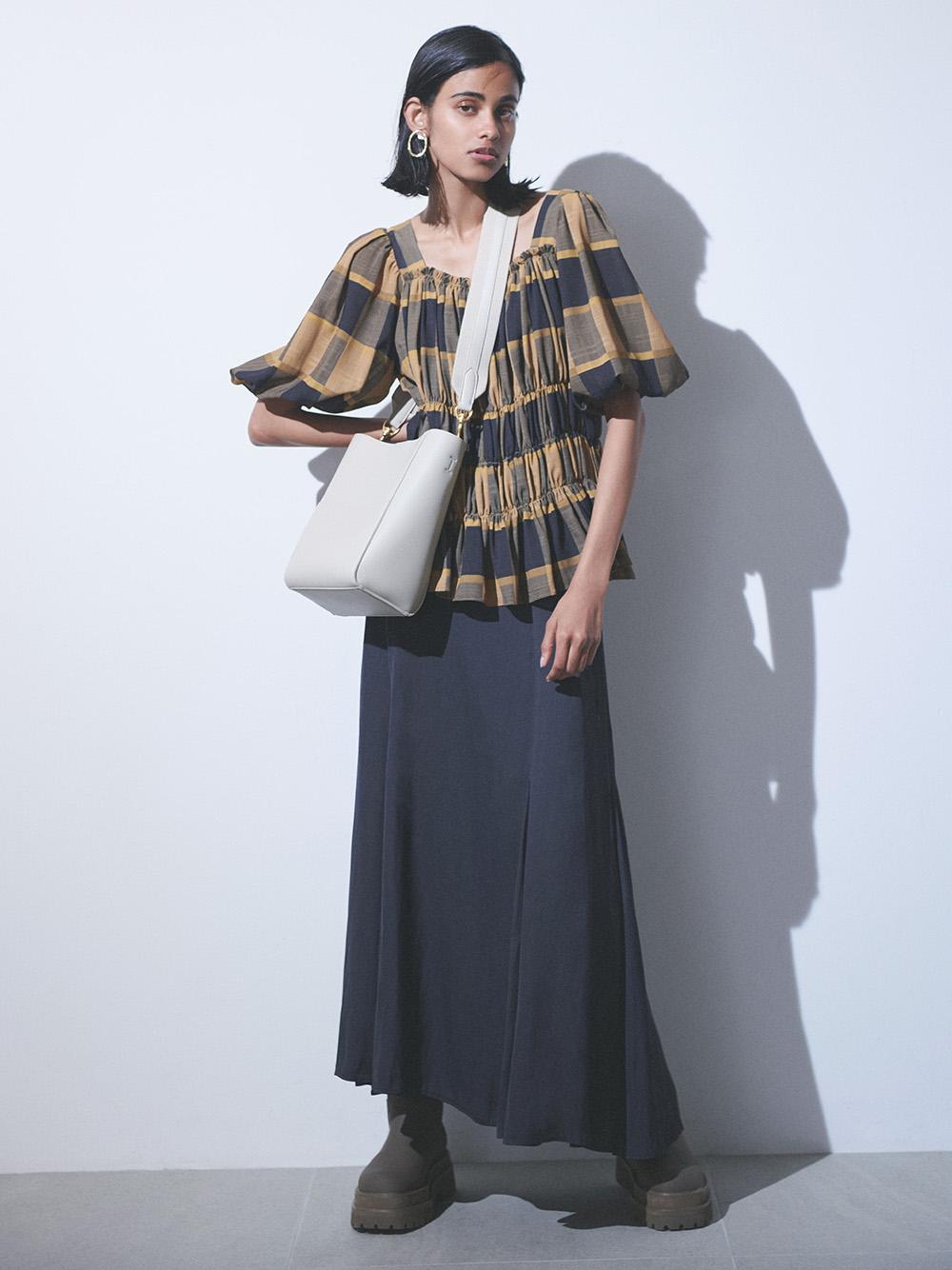 マチフレアステッチデザインナロースカート(CGRY-0)
