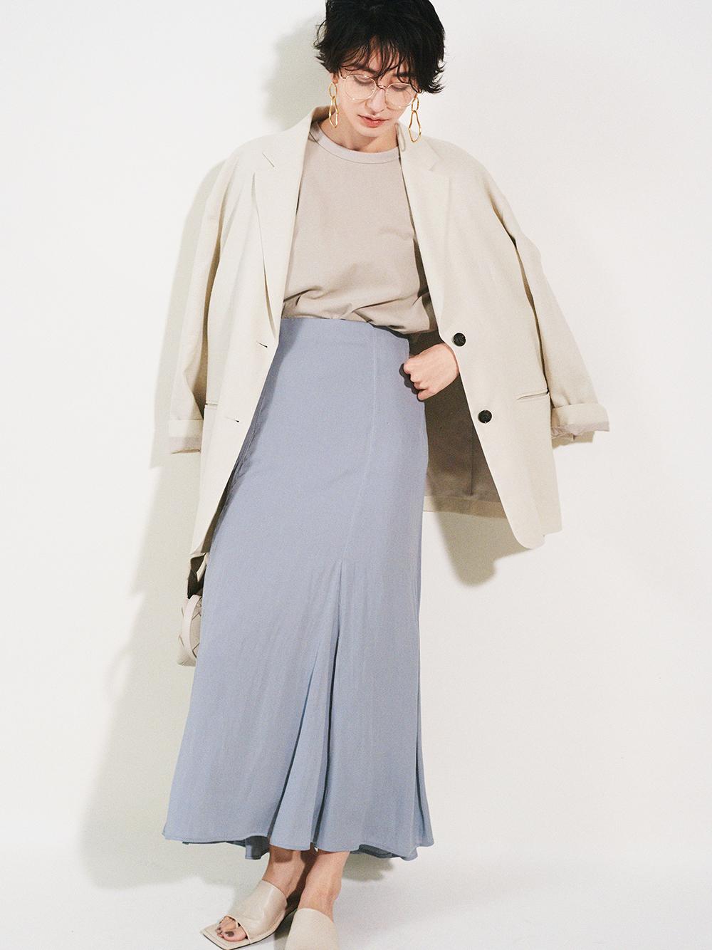 マチフレアステッチデザインナロースカート(BLU-0)