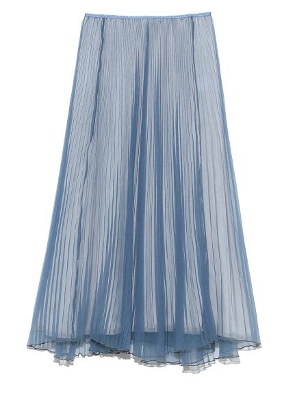 オーガンジーロングフレアプリーツスカート(BLU-0)