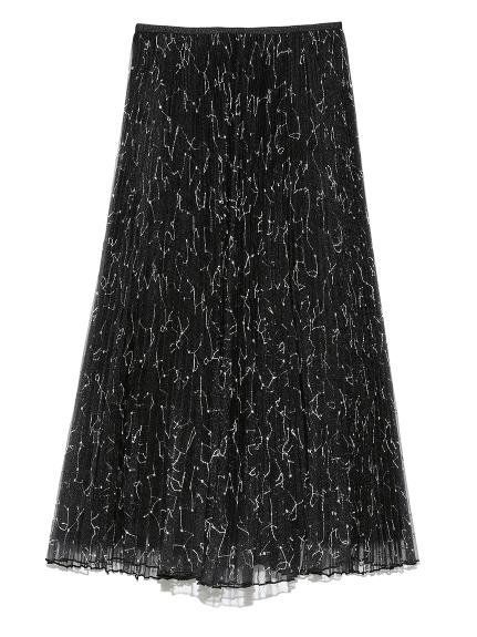 オーガンジーロングフレア刺繍プリーツスカート