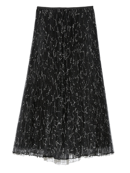 オーガンジーロングフレア刺繍プリーツスカート(BLK-0)