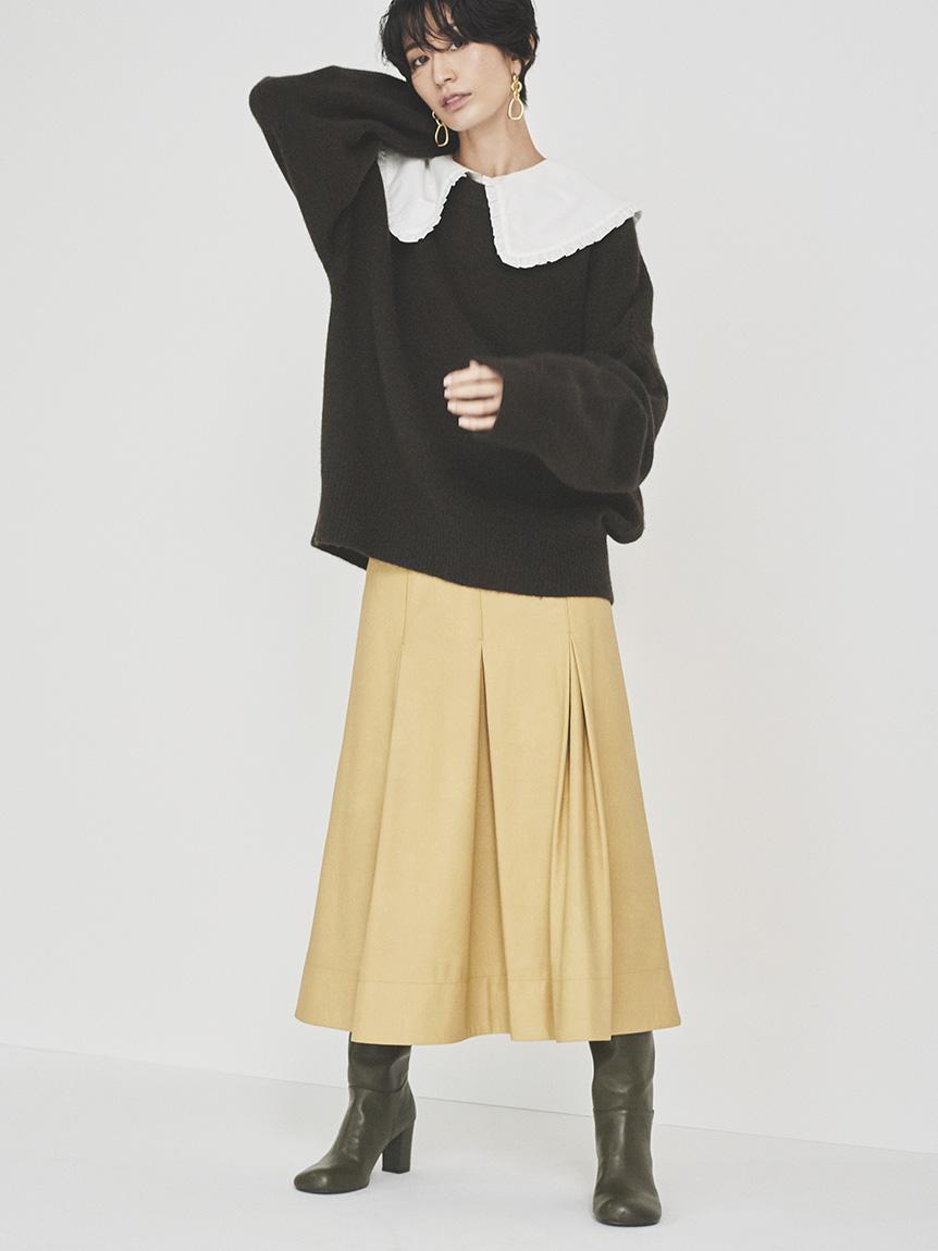 ふりミシンレザーライクナローロングスカート(YEL-0)