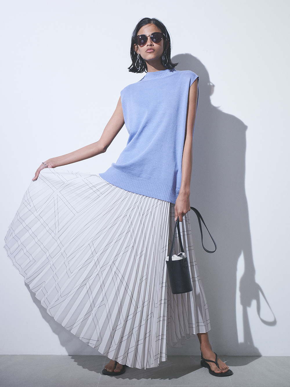 SET UP ラップ風プリーツアシメスカート