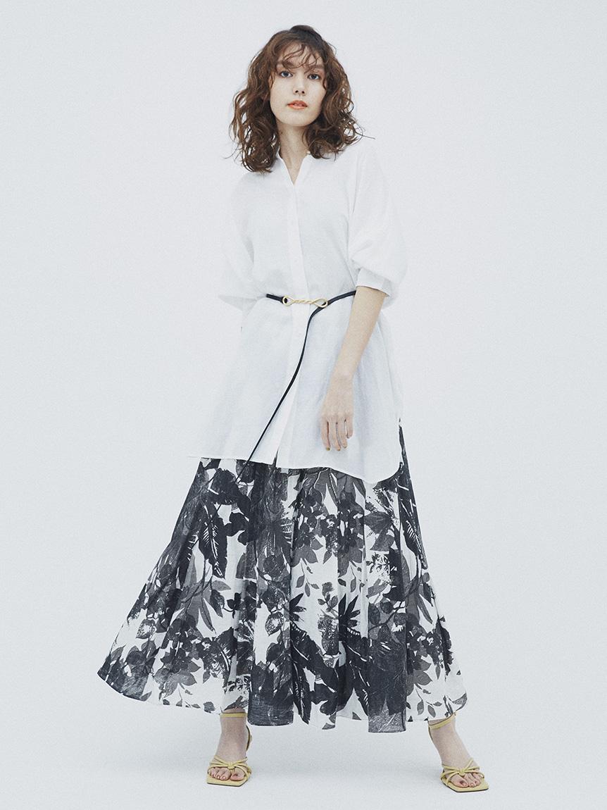 タックフレアロングスカート(FLOWER-0)