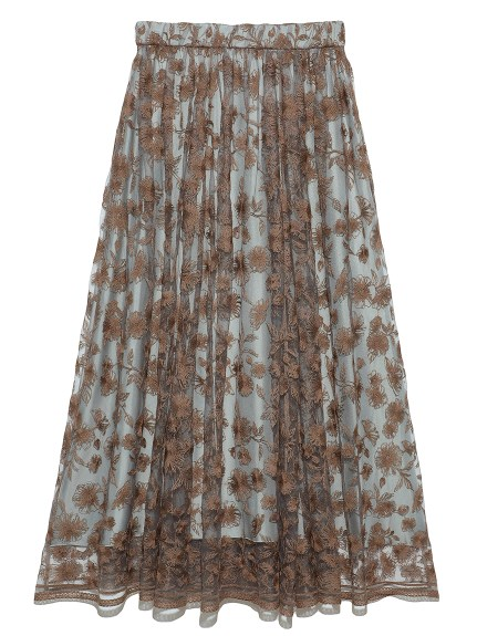ギャザーフレアフローラル刺繍スカート(GRY-0)
