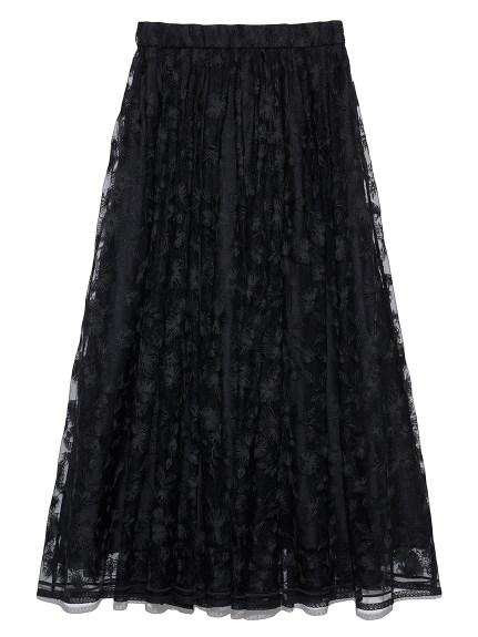 ギャザーフレアフローラル刺繍スカート(BLK-0)