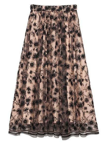 ギャザーフレアフローラル刺繍スカート(BEG-0)