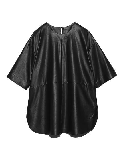 シャツカーブフェイクレザーTシャツ(BLK-0)