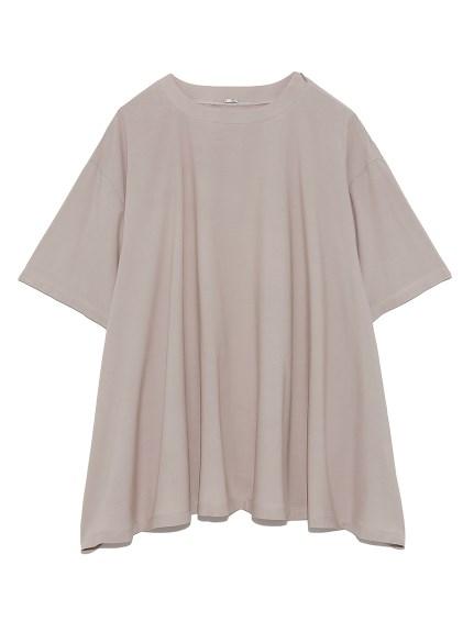 Tシャツライク布帛ヘムフレアトップス(BEG-0)