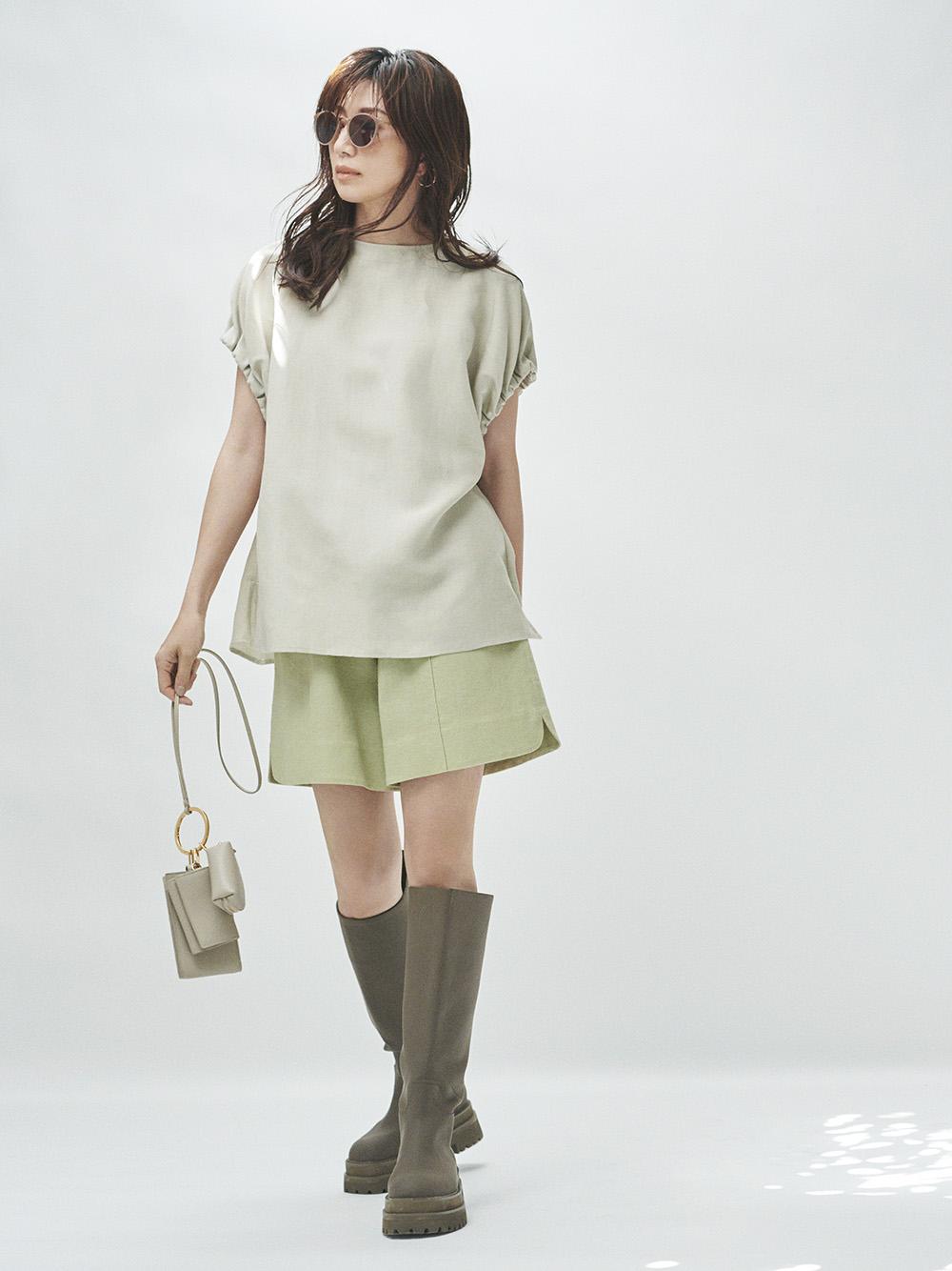 【オフィシャル限定】リネン混SETUPギャザースリーブTOP(BEG-0)