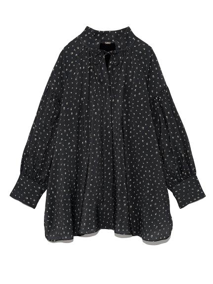 襟リボン袖ボリュームギャザーブラウス(FLOWER-0)