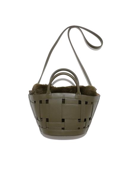 ワイドメッシュファー巾着扇形バッグ
