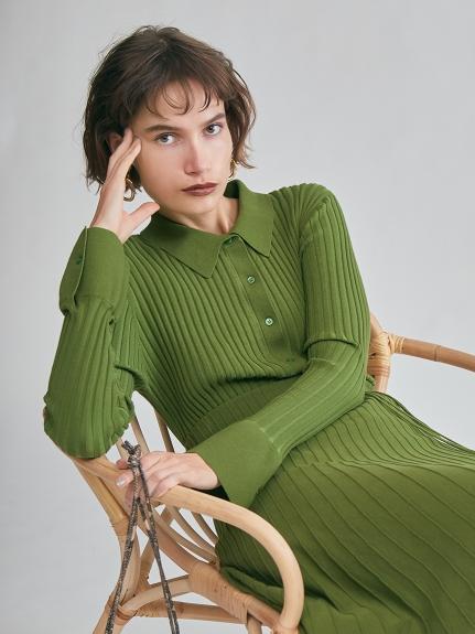 オーガニックコットン衿付ニットシャツ
