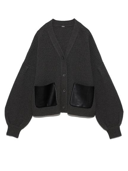 袖タックボリュームレザーポケットカーディガン(CGRY-F)