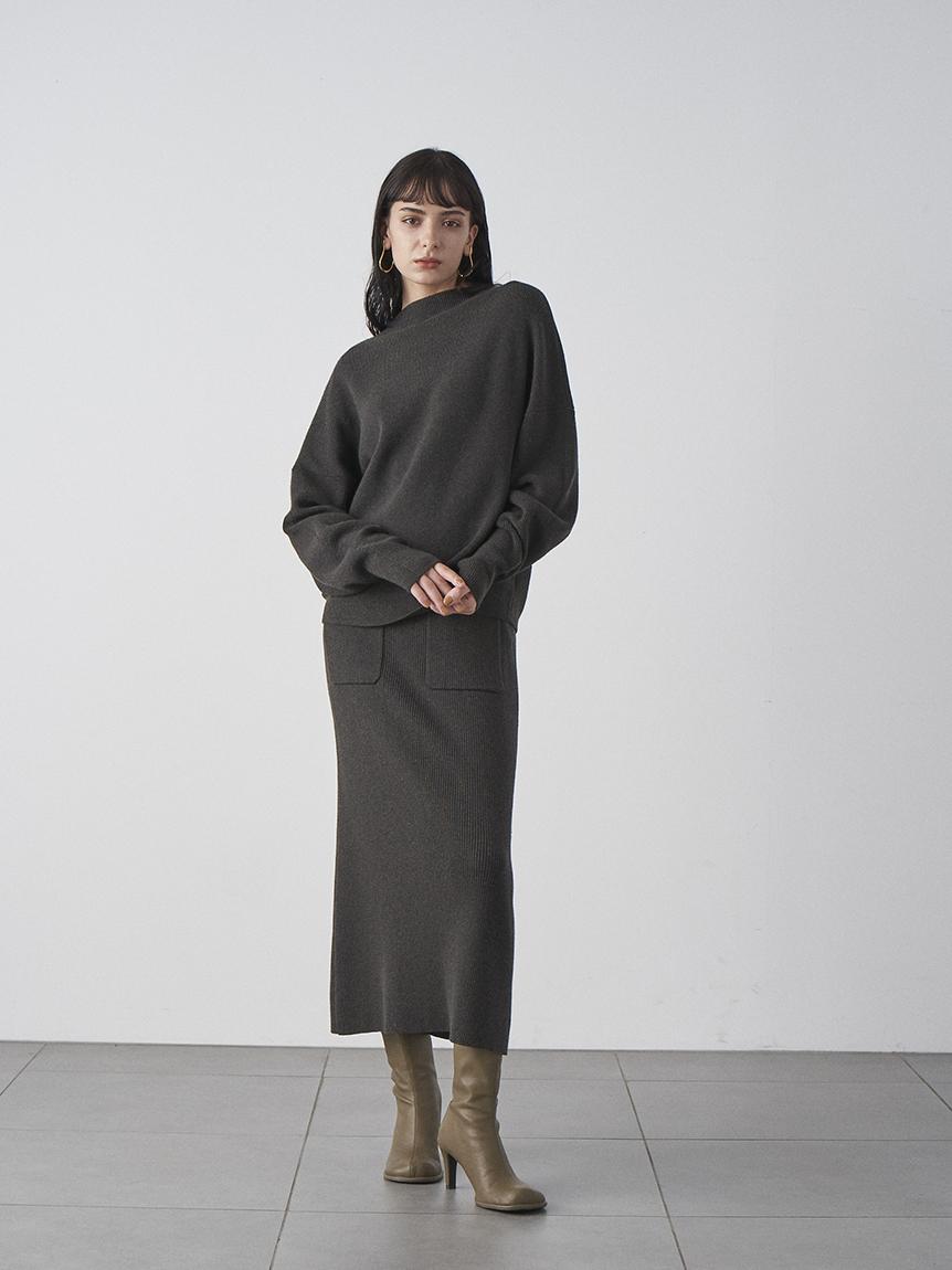 袖ボリュームニットスカートセットアップ(CGRY-0)