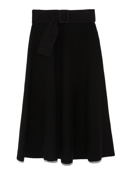 ベルト付リップル編構築ニットスカート