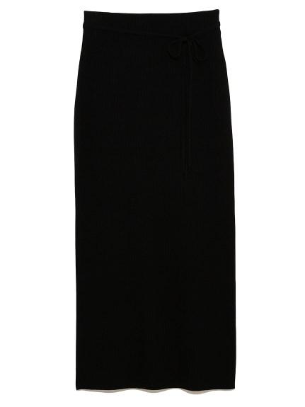 ストレートリブニットロングスカート(BLK-0)