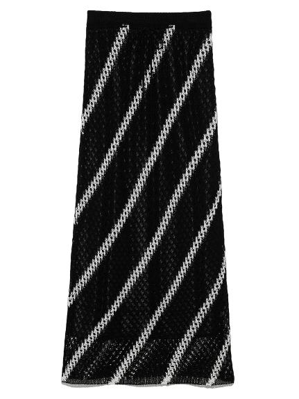かぎ針編みライクニットスカート(BLK-0)
