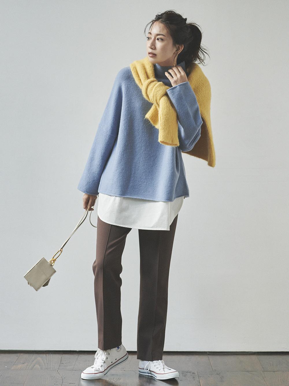 【オフィシャル限定】ドルマン風シャツレイヤードニット(BLU-0)