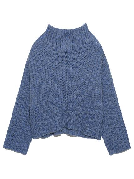 短丈MIX糸ワイドリブニット(BLU-F)