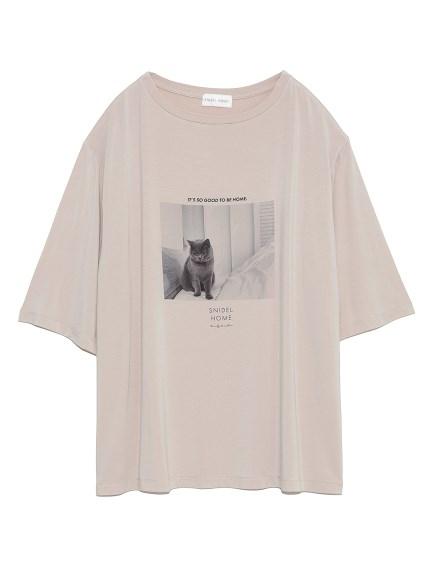 CATプリントTシャツ(BEG-F)