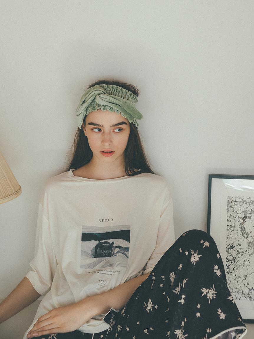 catプリントTシャツ(WHT-F)