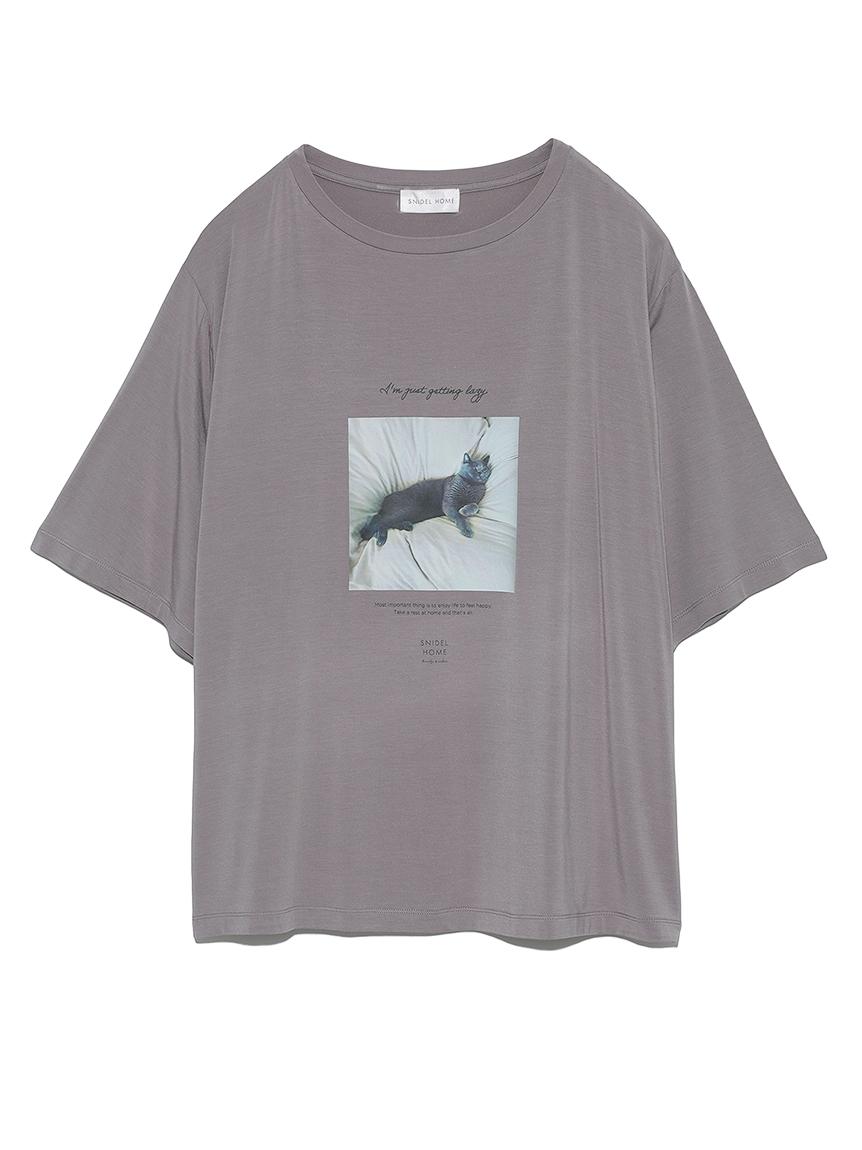catプリントTシャツ(CGRY-F)