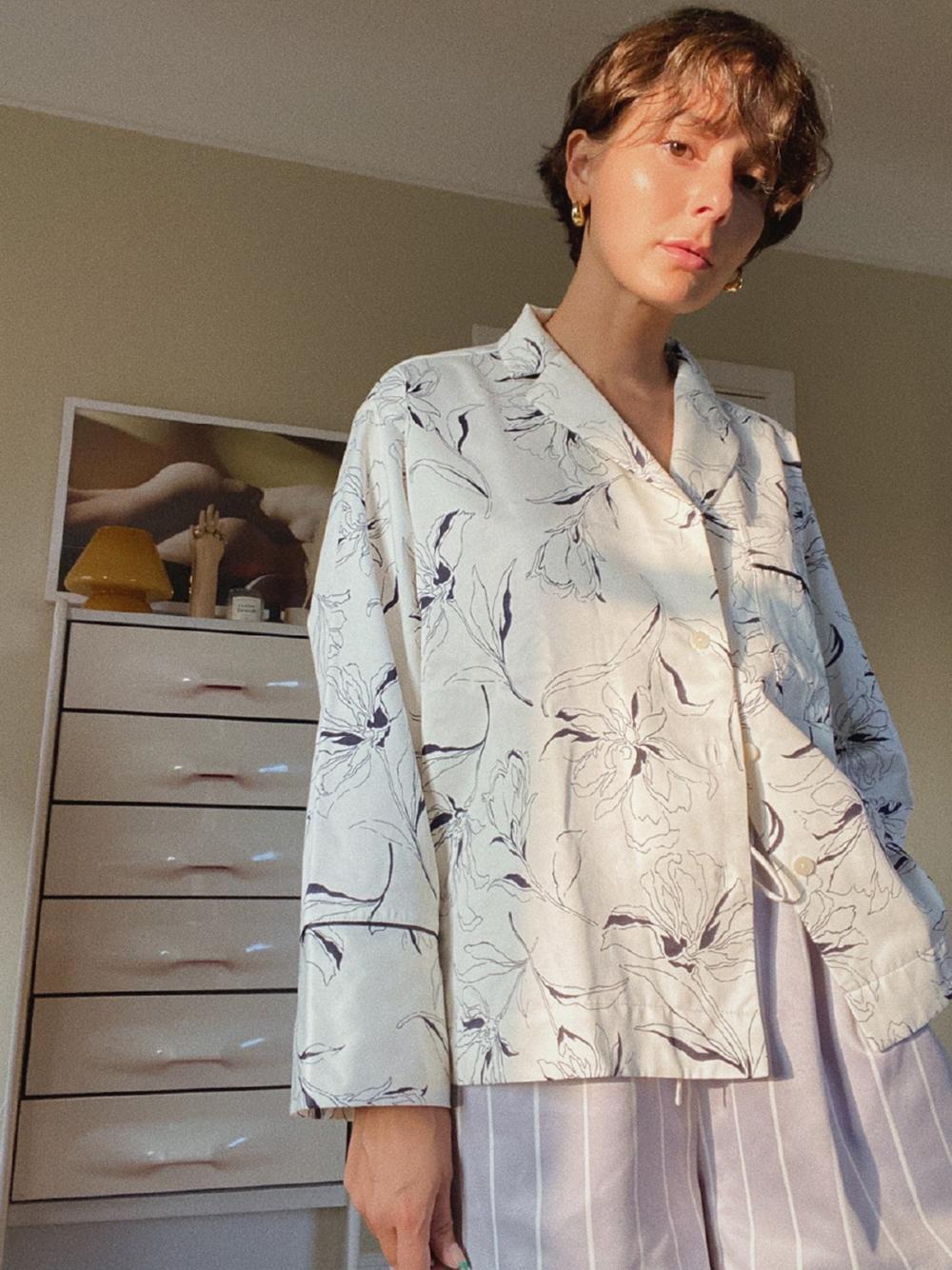 WARMサテンシャツ(FLOWER-F)