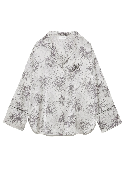 LUMIERE サテンプリントシャツ
