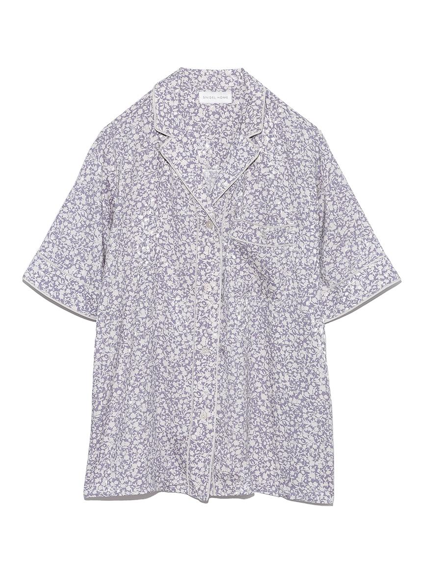ジャガードサテンパイピング開襟シャツ(BLU-F)