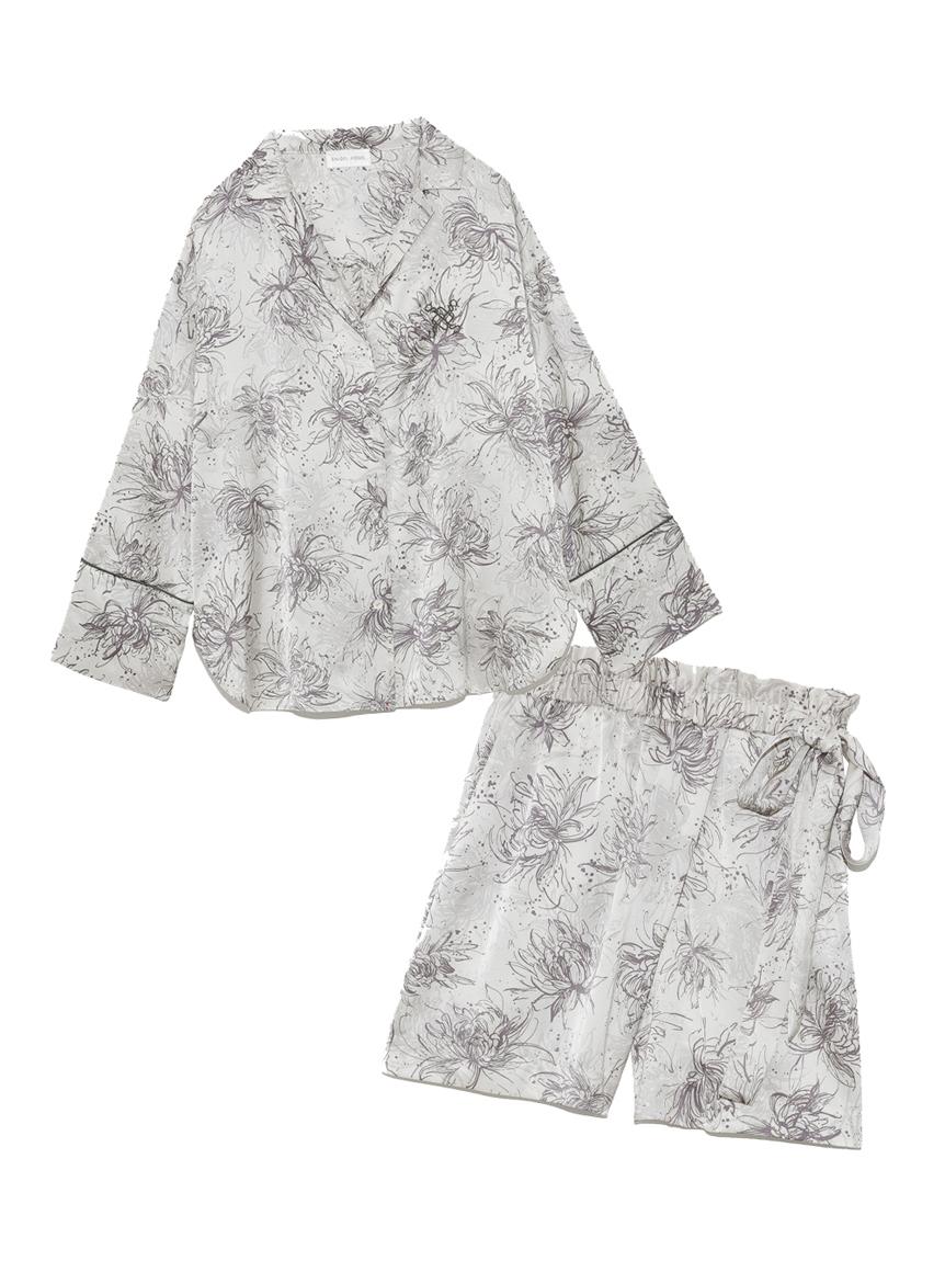 Lumiereサテンプリントシャツ&ショートパンツセット(IVR-F)