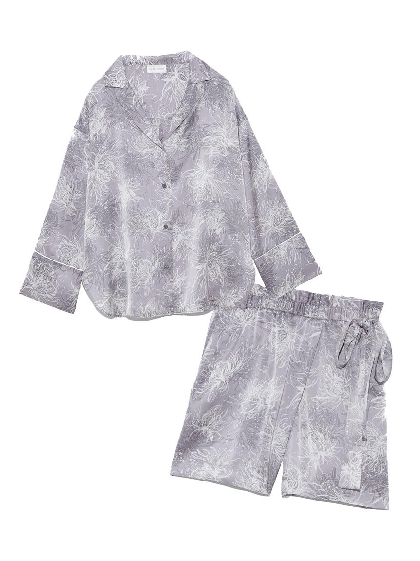 Lumiereサテンプリントシャツ&ショートパンツセット(SAX-F)
