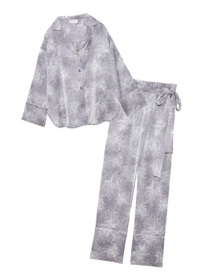 Lumiereサテンプリントシャツ&ロングパンツセット