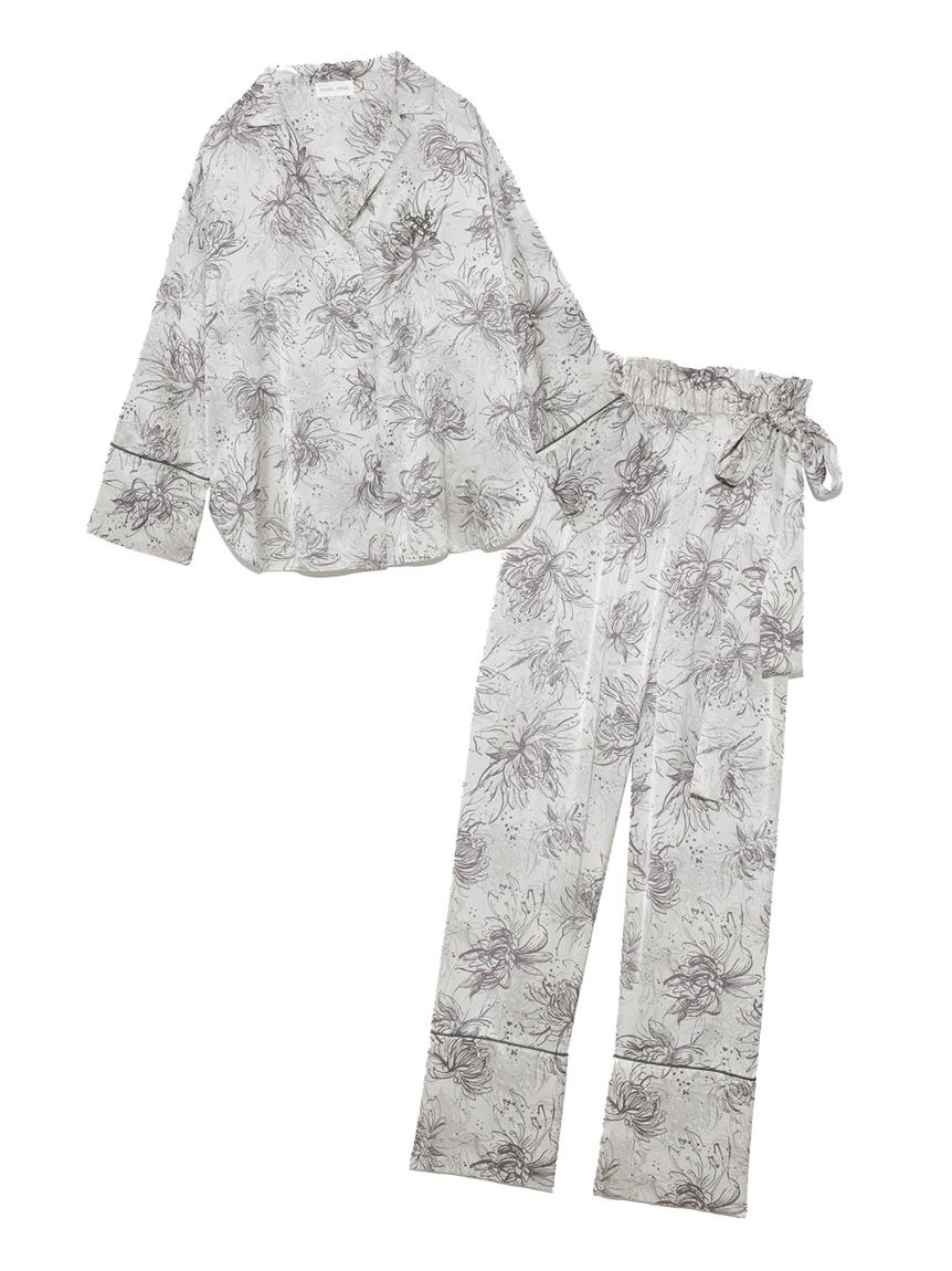 Lumiereサテンプリントシャツ&ロングパンツセット(IVR-F)