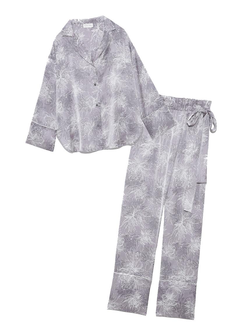 Lumiereサテンプリントシャツ&ロングパンツセット(SAX-F)