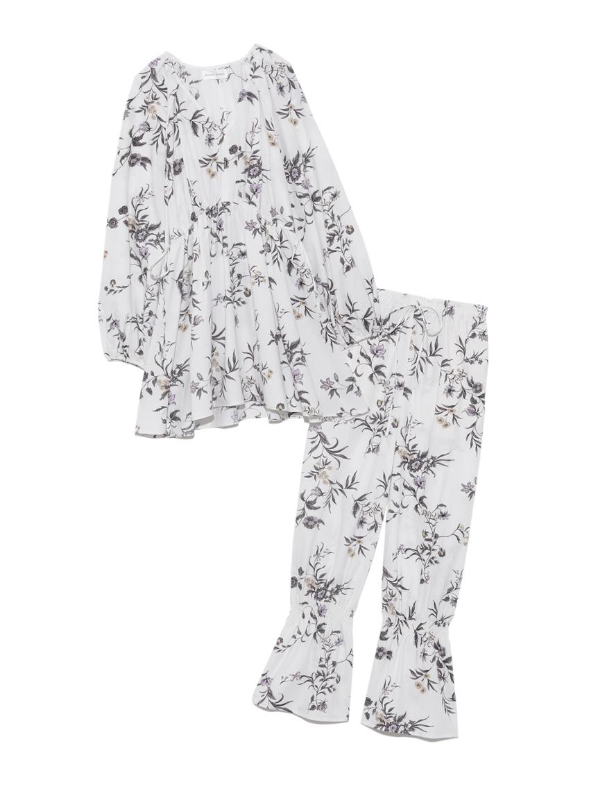 ラグランボリュームチュニック & 裾シャーリングフリルパンツセット(WHT-F)