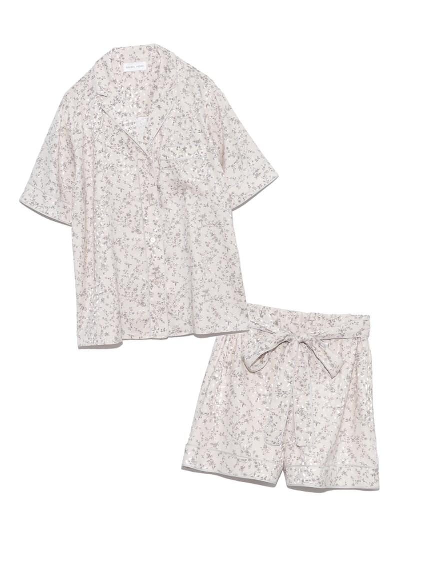 ジャガードサテンパイピング開襟シャツ & ショートパンツSET(IVR-F)