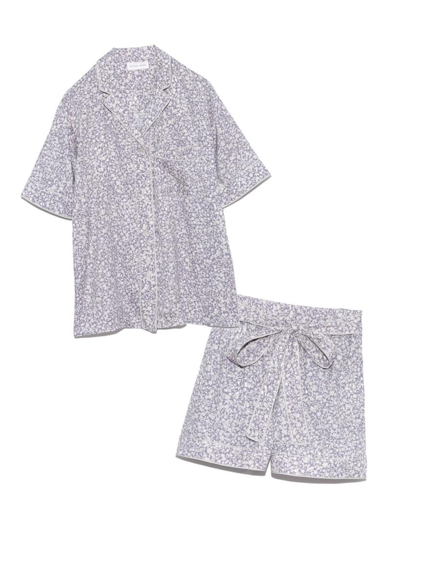 ジャガードサテンパイピング開襟シャツ & ショートパンツSET(BLU-F)