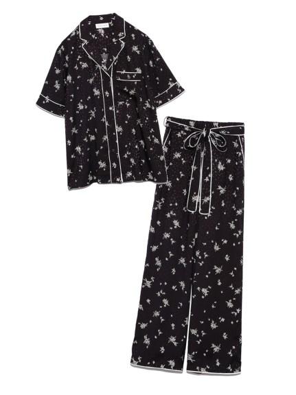 ジャガードサテンパイピング開襟シャツ & ロングパンツSET