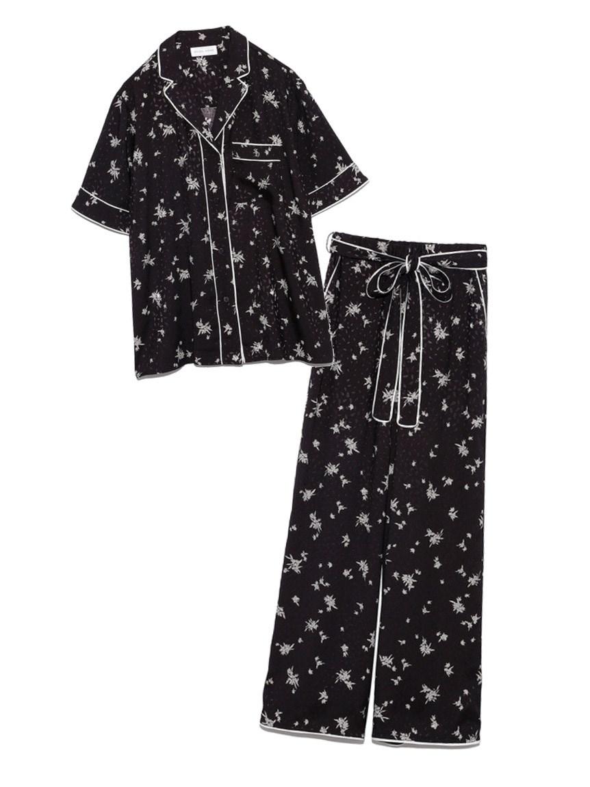 ジャガードサテンパイピング開襟シャツ & ロングパンツSET(BLK-F)