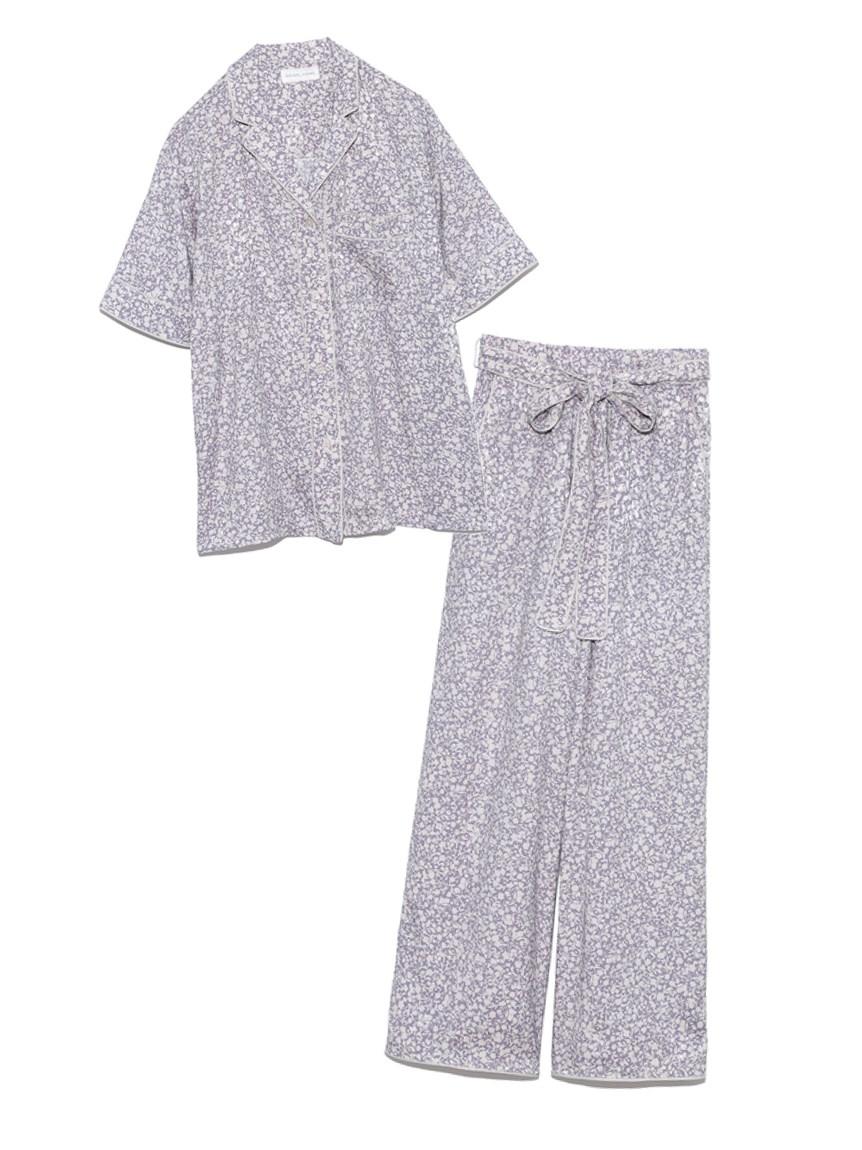 ジャガードサテンパイピング開襟シャツ & ロングパンツSET(BLU-F)