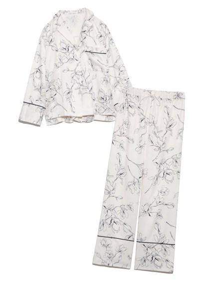 WARMサテン開襟シャツ &  ロングパンツSET