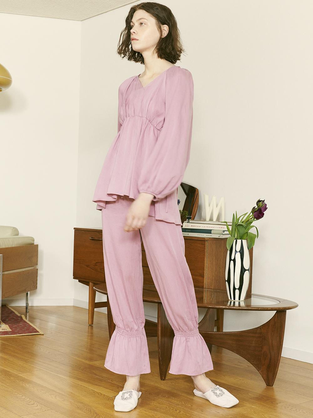 裾シャーリングフリルパンツ(PNK-F)