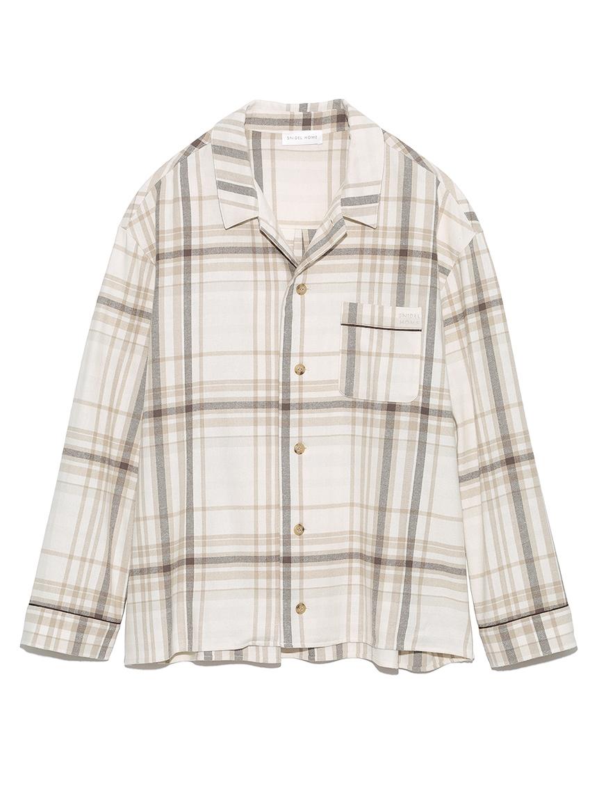 【ユニセックス】ネルチェックシャツ(BEG-F)