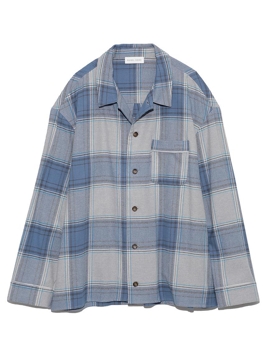【ユニセックス】ネルチェックシャツ(BLU-F)