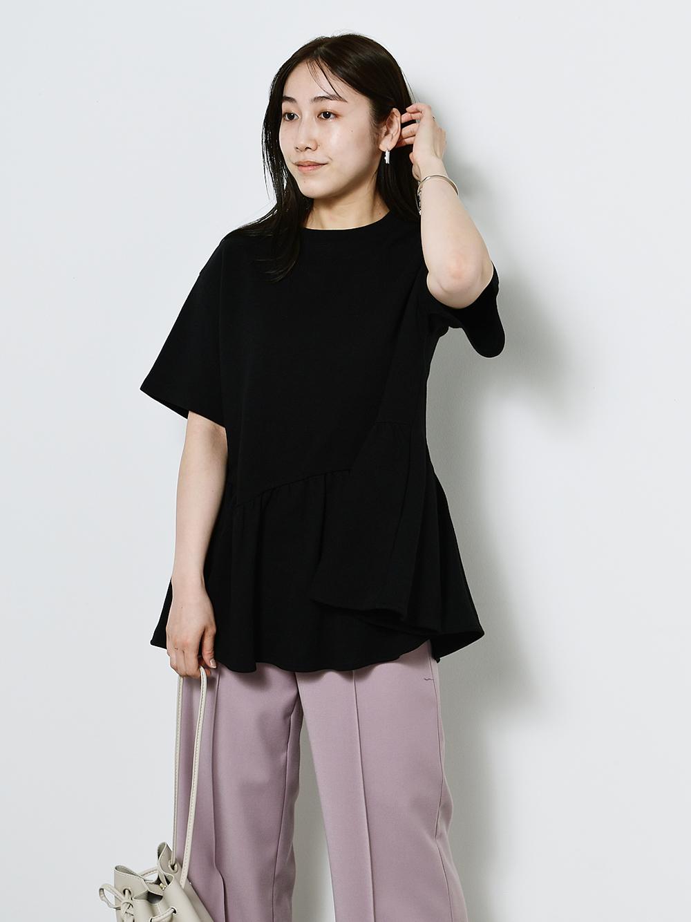 ペプラムビッグTシャツ(BLK-F)