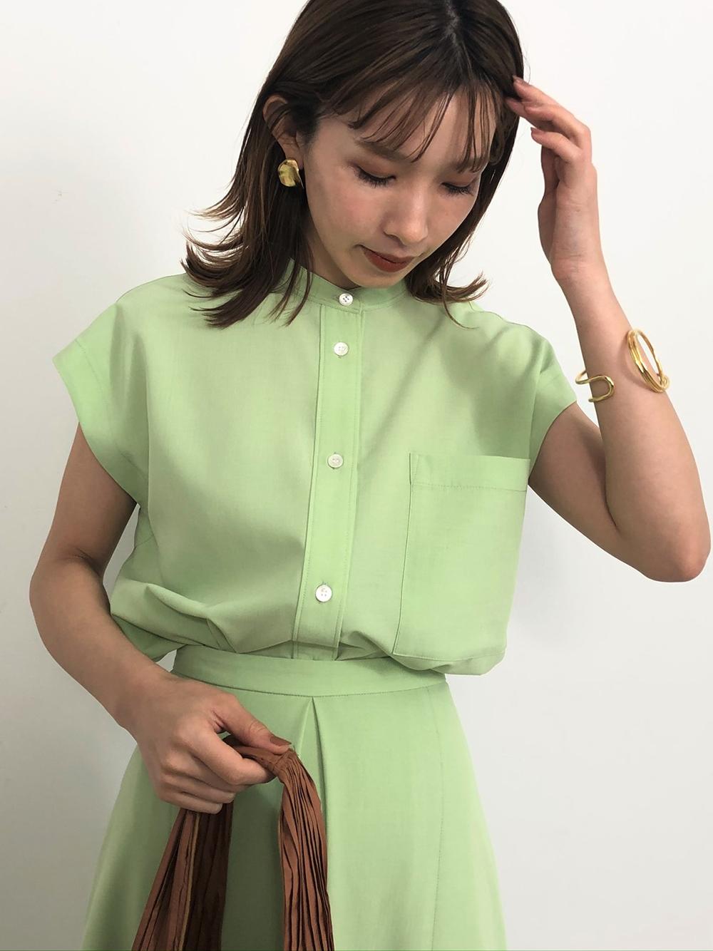 【ONLINE限定】フレンチスリーブシャツ(GRN-F)