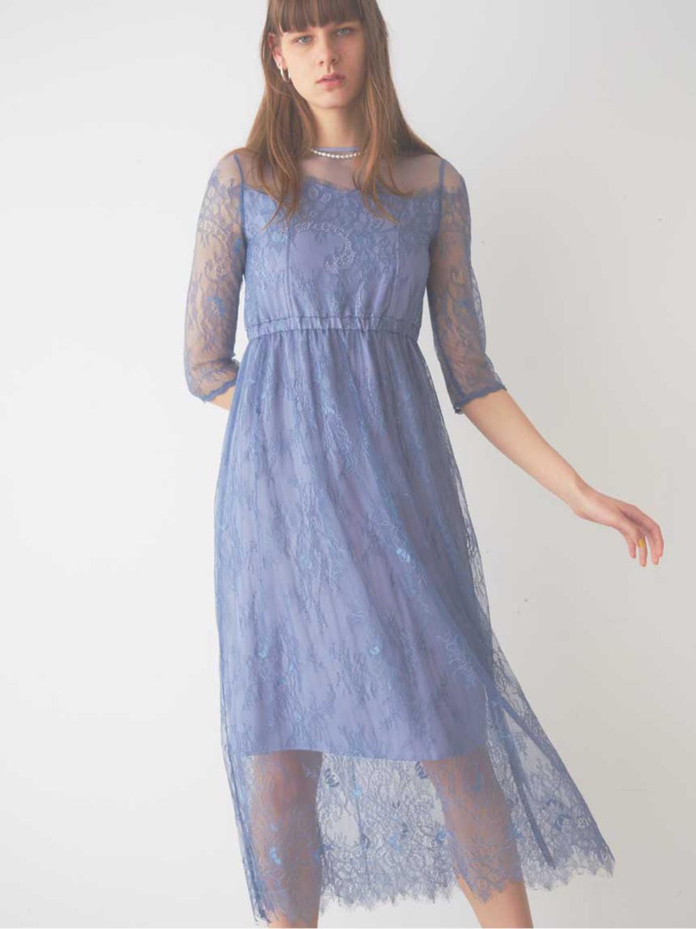 スカラレースロングドレス(BLU-F)