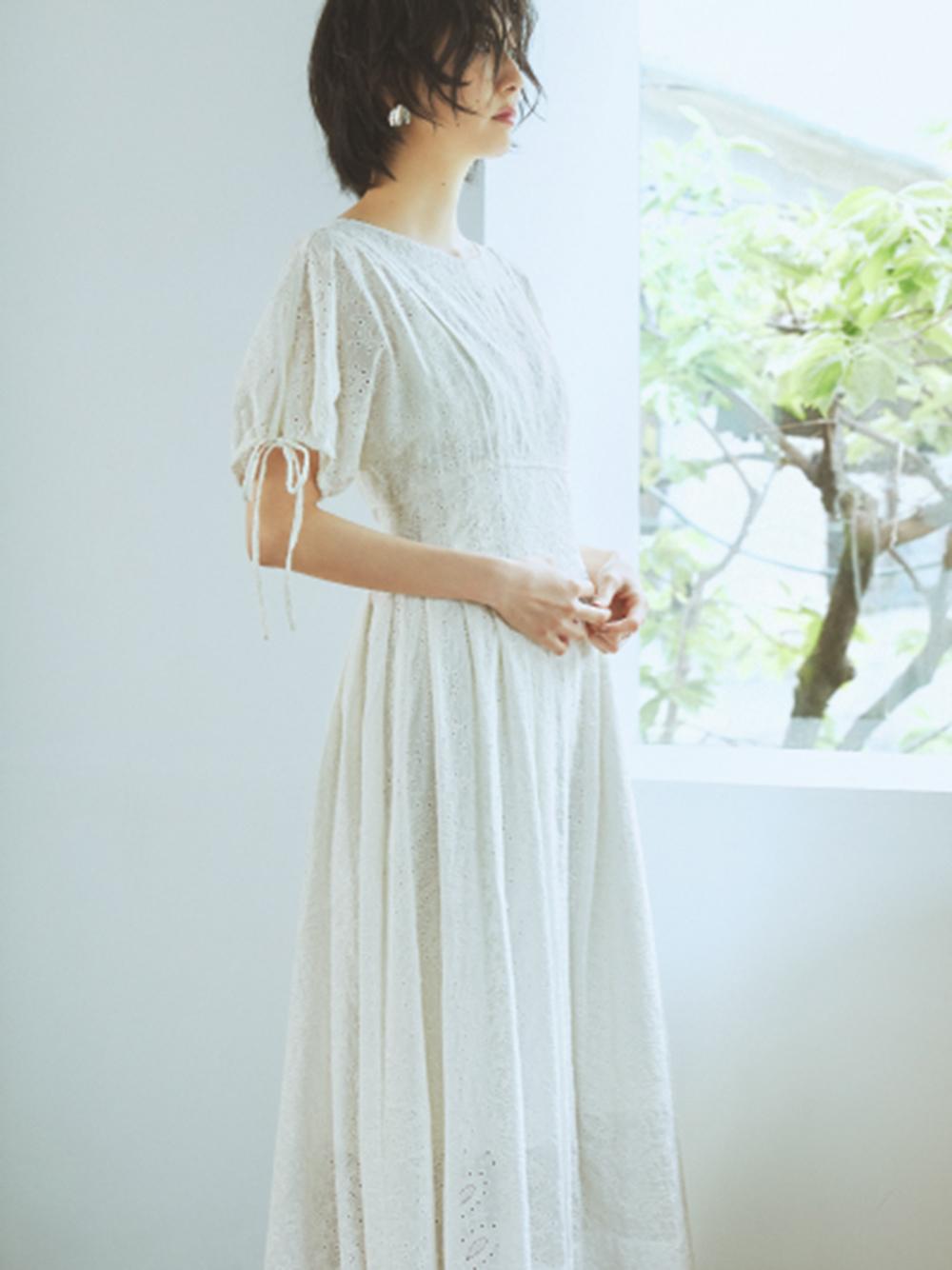 【ONLINE限定】パンチングレースタックワンピース(WHT-0)