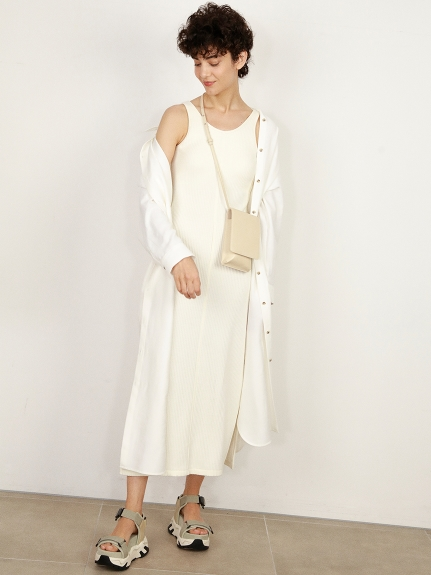 【ONLINE限定】ルーズレーヨンリネンシャツワンピース(OWHT-F)